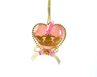 Baby Shower Clear Heart Necklace Prince or Princess