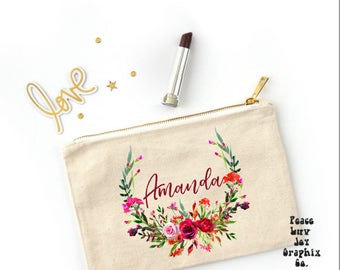 CUSTOM COSMETIC Bag Personalized Cosmetic Pouch Custom Makeup Bag Floral Clutch Bag Wedding Gift Personalized Cosmetics Bag Custom Pouch