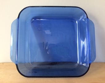 1980's Vintage Cobalt Blue PYREX Glass Originals Square Baking Dish/ Brownie Pan, 2 Quart, Collectible