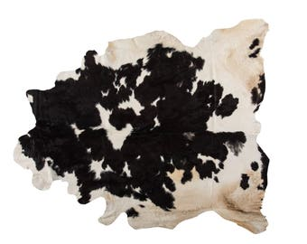"Luxury European Natural Cowhide Rug, Hair-On-Hide Genuine Bovine Leather, Hand Tanned in Europe, Superior, Black and White, 6'0"" x 7'0"""
