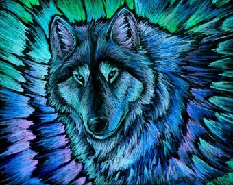 Wolf Aurora Blue Colorful Animals Fantasy Giclée Fine Art Print