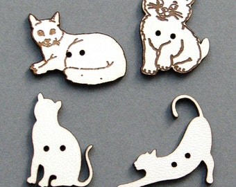 Decorative buttons wood buttons cats