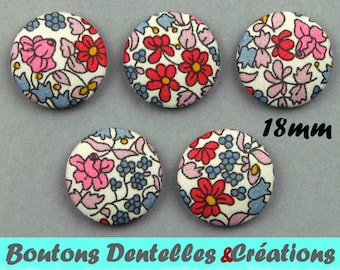 Buttons covered with Liberty - Emilia's Flowers B - 18 mm