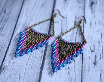 Long earrings pink and blue.