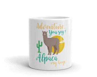Funny Alpaca Mug - Alpaca Lover - Alpaca Gifts - World Travelling - Backpacking - Backpacker - Vacation Holiday - Hiking - Traveller Mug