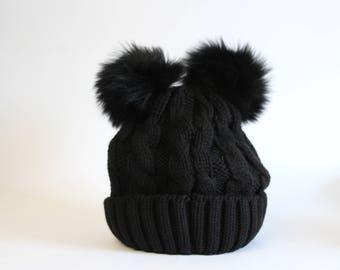 Real fur pom pom foldover hat, Fur pom pom hat, Black winter hat, Black foldover hat, Black knitted hat, Fox fur pom pom hat, Winter hat
