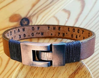 Gift for Men Bracelet Leather Man Leather Bracelet Personalized Leather Bracelet Coordinate Customized Gift