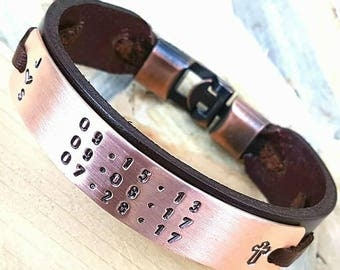 Gift for him Personalized gift for Husband Gift for Mens Leather Coordinate Engraved Leather Man Bracelet