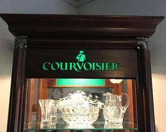 Rare Courvoisier Liquor Mahogany Locking Display Case Curio - Pick up only