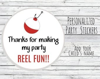"Personalized 12 0r 20 or 35 Fishing Stickers ""REEL FUN"" Party Favor Labels, Fish, Thank You Labels, 1st Birthday, Goodie Bag Labels"