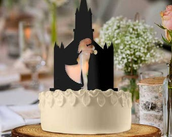Newlywed Couple Cathedral Wedding Cake Topper