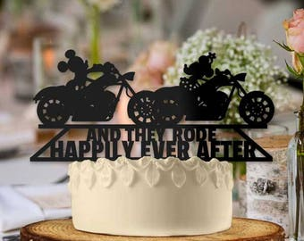 Mickey and Minnie on Motorcycles And they Rode Happily Ever After Wedding Cake Topper
