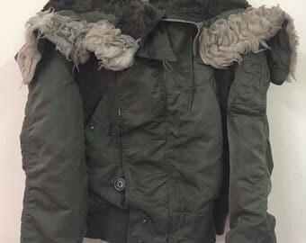 Rare!! Vintage Alpha Industries Jacket Green Army with Wool Hoodies