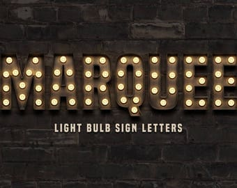 Marquee Light Bulb Sign Letters (PNGs for Graphic Design & Photoshop PSD)