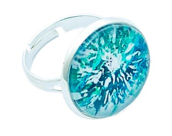 Round cabochon ring * flower Turquoise *.