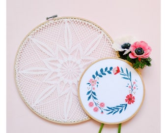 Embroidered frame wreath