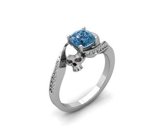 two skull handmade 210ct cushion sky blue cubic zirconia stone handmade engagement wedding ring set - Skull Wedding Ring Sets
