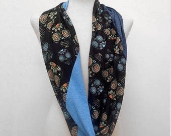 Blue on Black Sugar Skulls on Black Infinity Scarf
