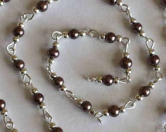 55cm of string/brown glass Pearl 4mm beads