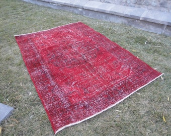 FREE SHIPPING !Overdyed rug,Turkish vintage rug,low pile rug,distressed rug,interior decor 95'' x 65''