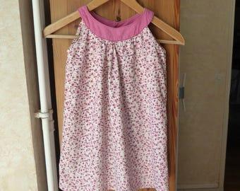 Round neckline dress with pink flowers 2, 4t, 5T, 6T