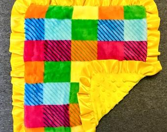Bright/Yellow Checkered Minky Baby Blanket