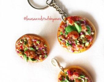Ceviche tostada pin-charm-keychain