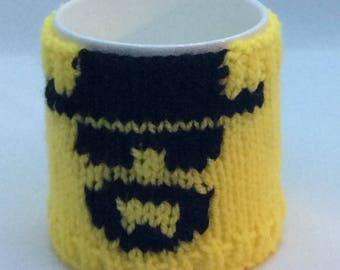 Knitting pattern for Heisenberg mug cosy