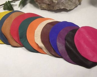 Set of 12 round lambskin various colors.