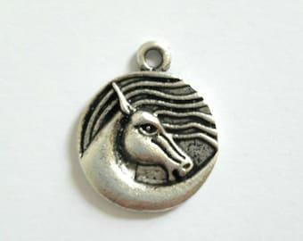 1 antique silver horse pendant charm