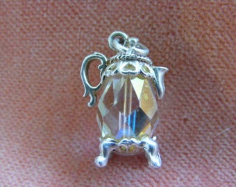 Vintage Sterling Silver Charm Crystal Coffee pot