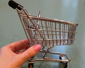 Miniature tiny shopping buggy cart grocery cart