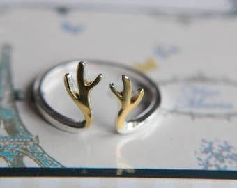 Deer ring antler ring made of 925 sterling silver-antler-bicolor-gilded