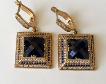 sapphire and topaz sterling silver earrings, 925 Sterling silver,  gold, ring earrings,eardrops