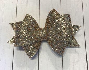 Gold glitter three loop leather hair bow