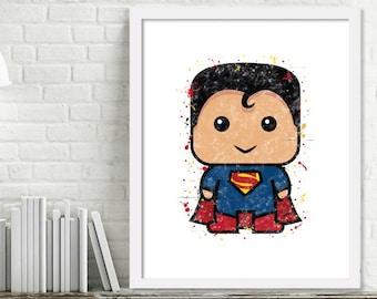 Printable Superhero Nursery Art, Superman Watercolor Art, Superhero Bedroom, Superman Watercolor Print, Mini Superheroes, Superman Print