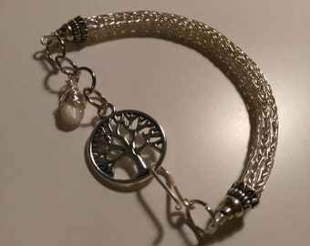 Viking knit Sterling silver filled tree of life braclet with mother of Pearl pendant