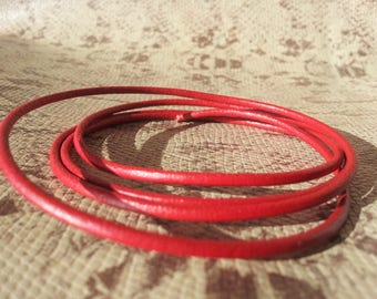 Round 2 mm red high quality European leather cord