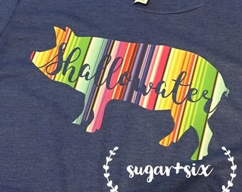 Womens or Kids Personalized Serape Pig Tee - Its Stock Show Season!