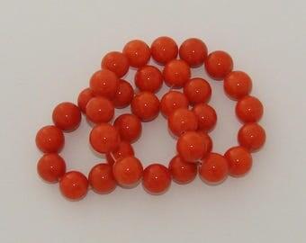 5 beads 12mm diameter orange jade