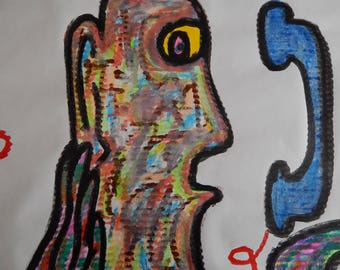 Original Painting Drawing Abstract Poster Phone Person Telephone Head Face 24 x 36 Tempera Paint Stick and Gel Stick
