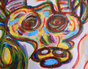 Original Painting Abstract Bull Cow Animal Southwest Tempera Paint Stick Gel Stick 24 x 36 on Paper