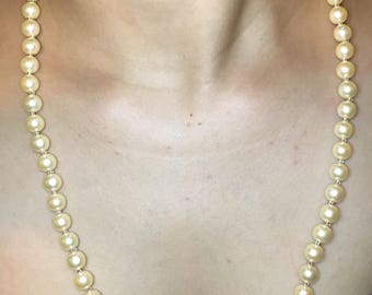 Peach Pearl Necklace for Wedding, Christmas and Prom