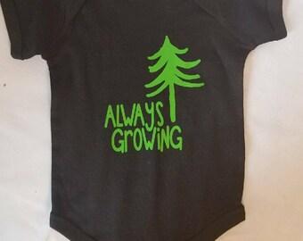 Black Onesie Always Growing Tree