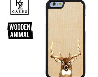 Wooden Phone Case, Deer Head Phone Case, Wooden Animal Case, Gift For Her, Antlers Hunting Case, iPhone 7, iPhone 6, 7 Plus, 6 plus, Gift
