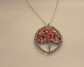 """This pendant is called """"The Tree Of Life"""" Made in silver and jasper."""