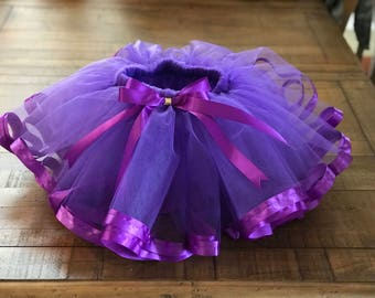 Purple Love/ Purple Tutu with Purple Satin Ribbon