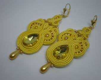 Yellow soutache earrings