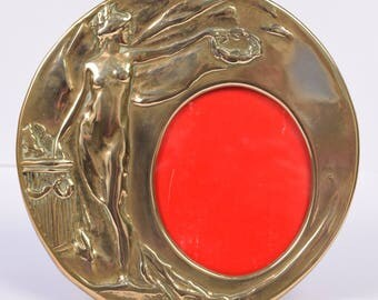 Vintage Art Nouveau Brass Photo Frame