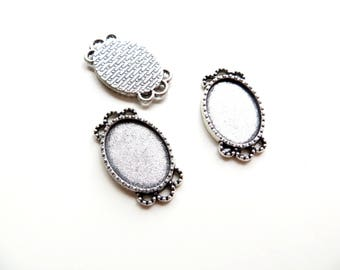 4 holders silver connector cabochons 13x18mm